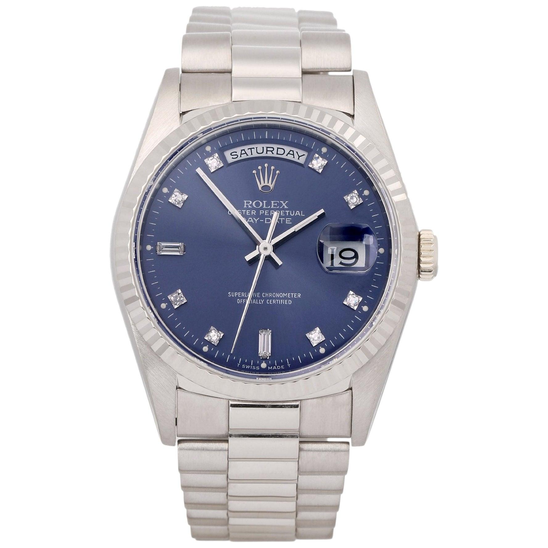Rolex Day-Date 36 18239 Unisex White Gold Diamond Watch