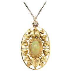John Zerano Art Nouveau Opal Pendant with 14 K Yellow Gold Chain