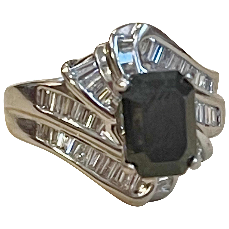 1 Carat Solitaire Emerald Cut Black Diamond Ring/Band 18 Karat White Gold