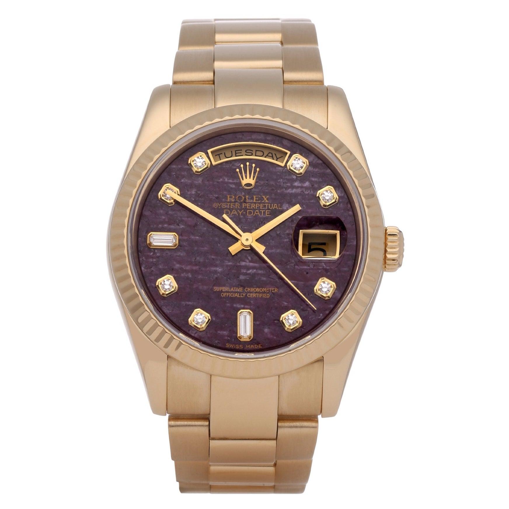 Rolex Day-Date 36 118238 Unisex Yellow Gold Rubellite Diamond Watch