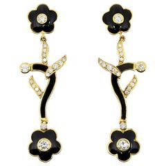 1990s Onyx and Diamond Dangle Gold Earrings