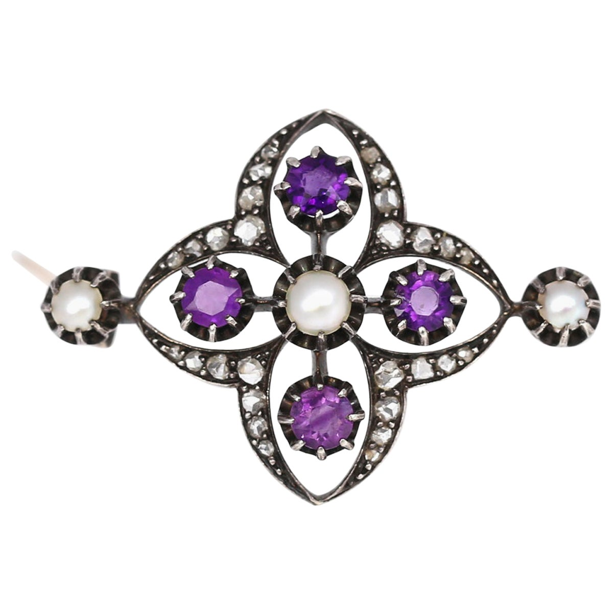 Victorian Amethyst Pearls Diamonds Silver Gold Brooch, 1900