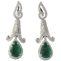 Emerald Diamond White Gold Dangle Earrings