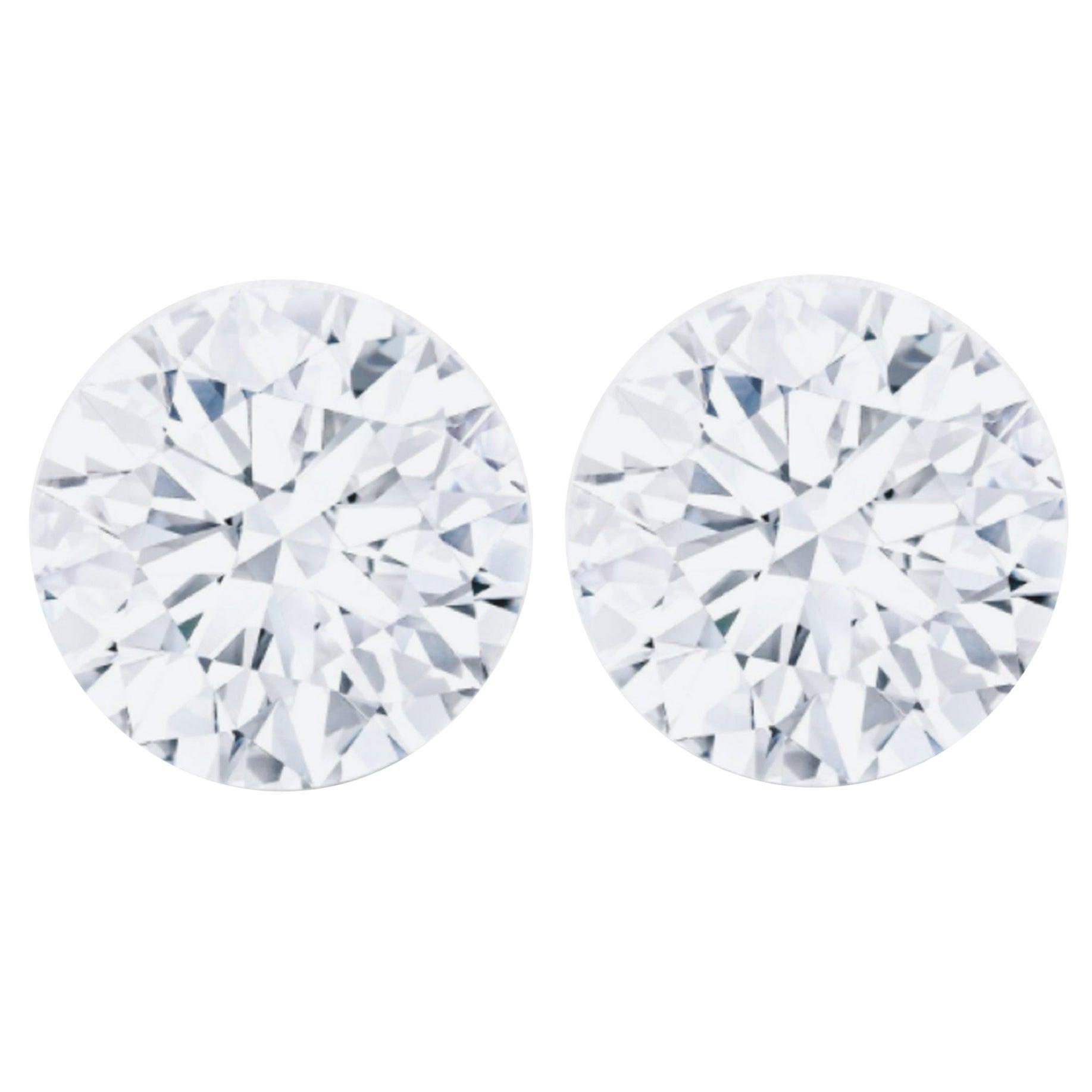 GIA Certified 3.00 Carat Brilliant Cut Diamond Studs E Color VVS2 Clarity