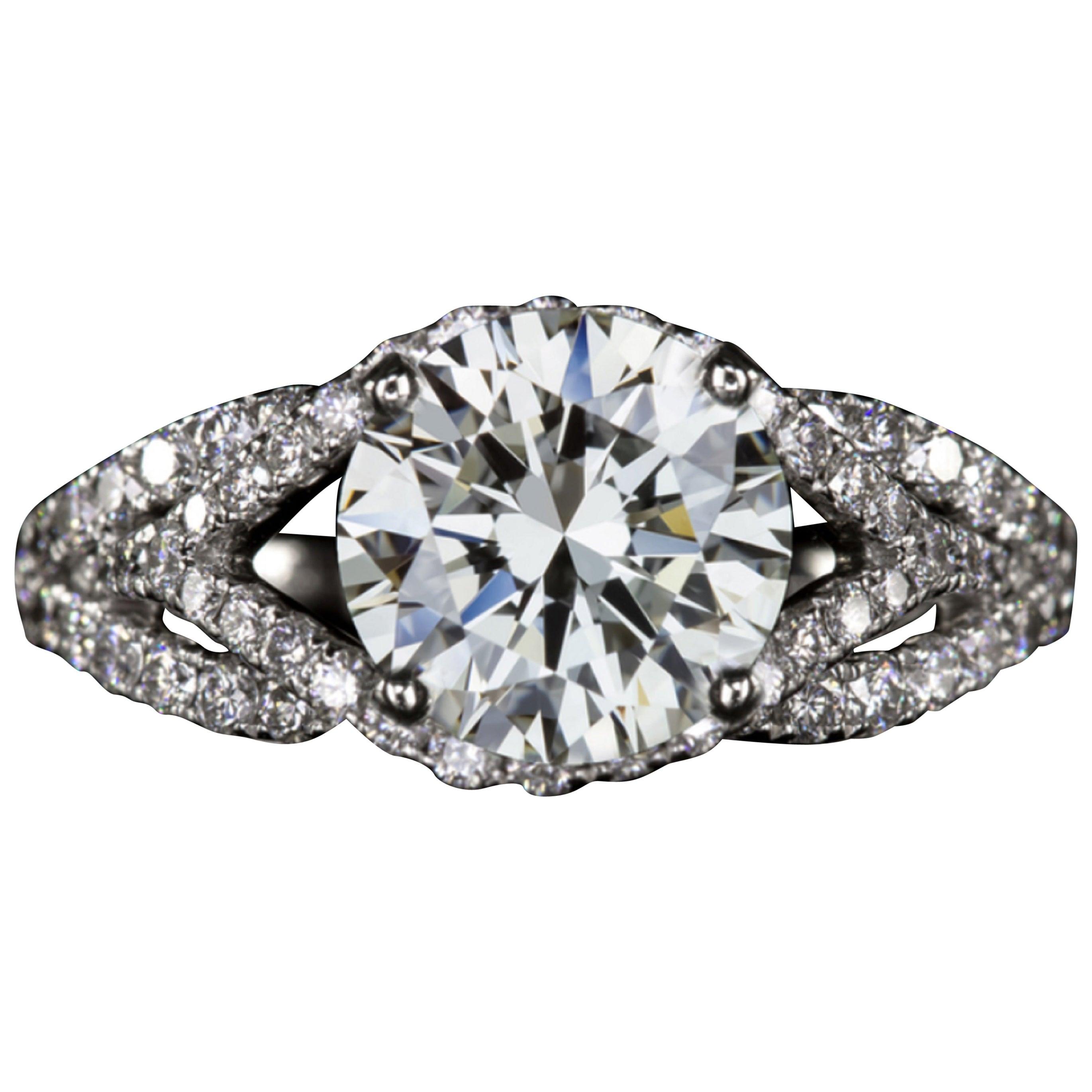 GIA Certified 3 Carat Round Brilliant Cut Diamond Ring