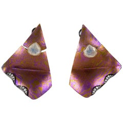 Diamonds Moonstones 18 Karat Gold Sterling Silver Timascus Earrings