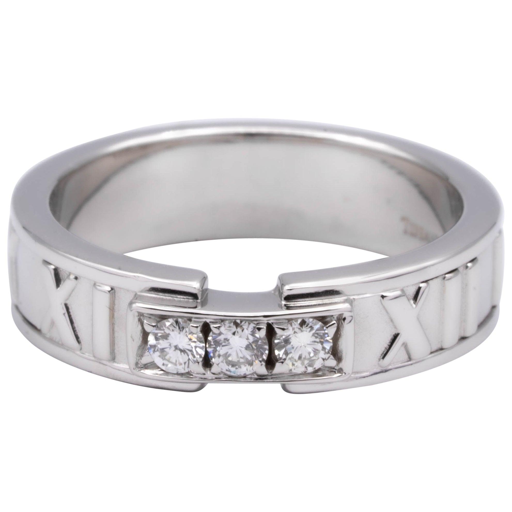 Tiffany & Co. Atlas 3-Diamond Ring in 18 Karat White Gold
