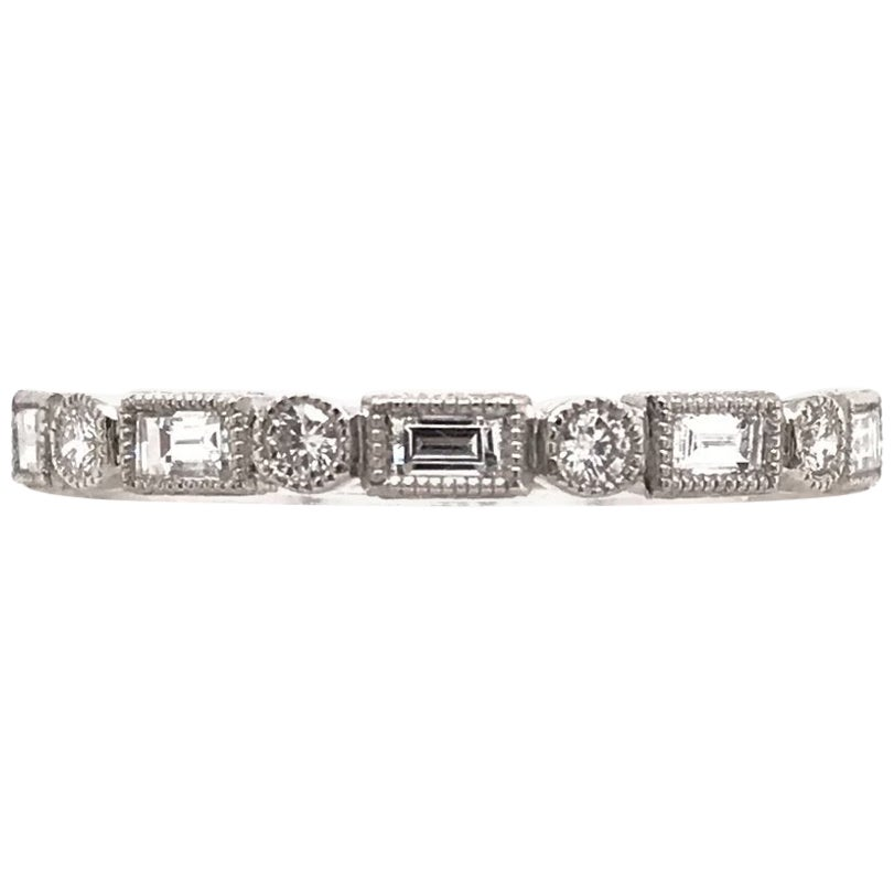 Antique Style Baguette and Round Diamond Band
