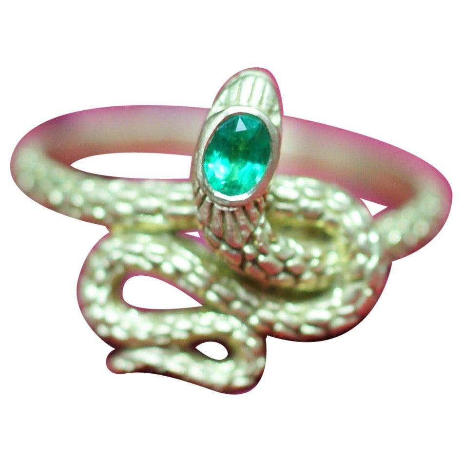 Emerald and 18 Karat Gold Snake Ring