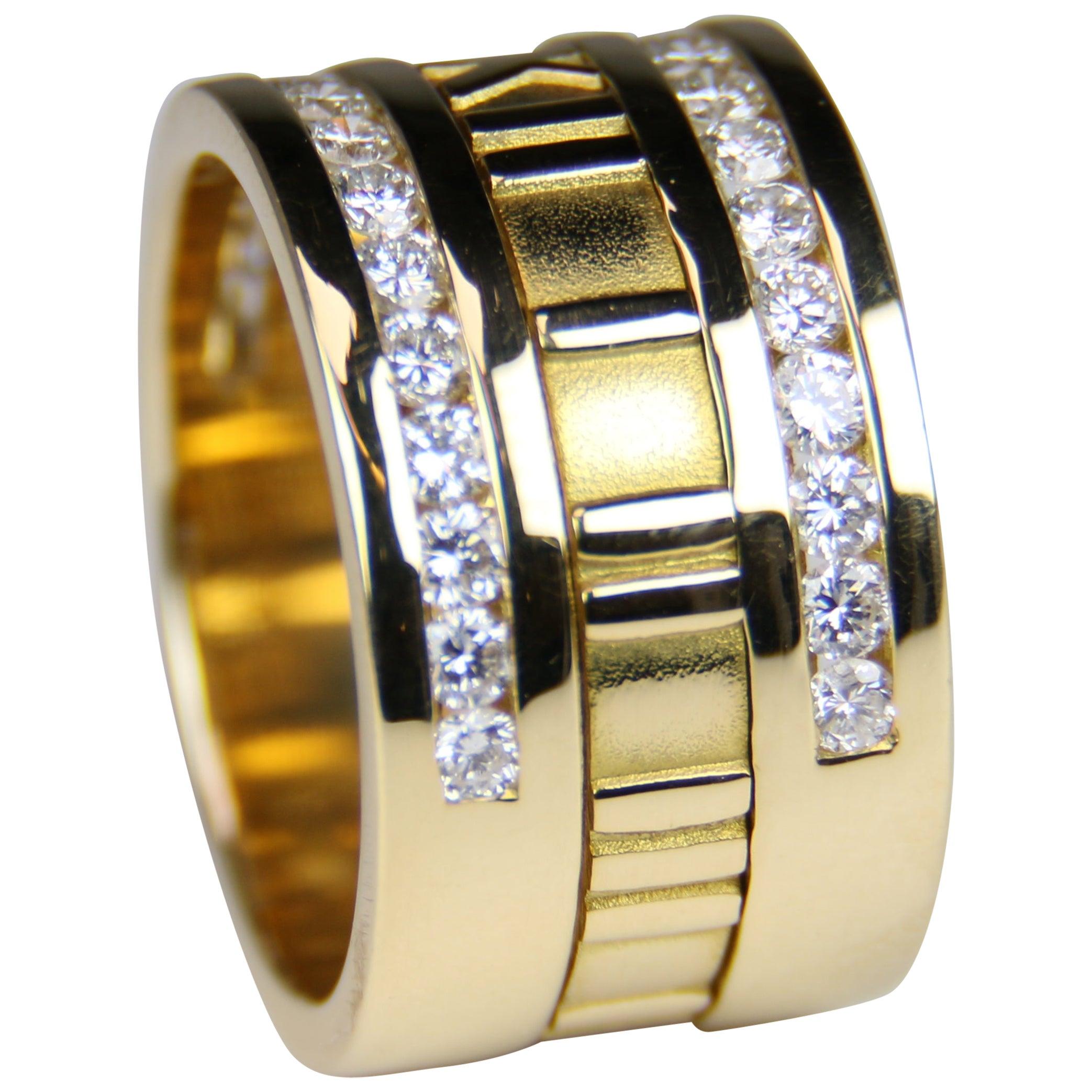 Tiffany & Co. 1995 Atlas Numeric Diamond Ring 18 Karat Yellow Gold