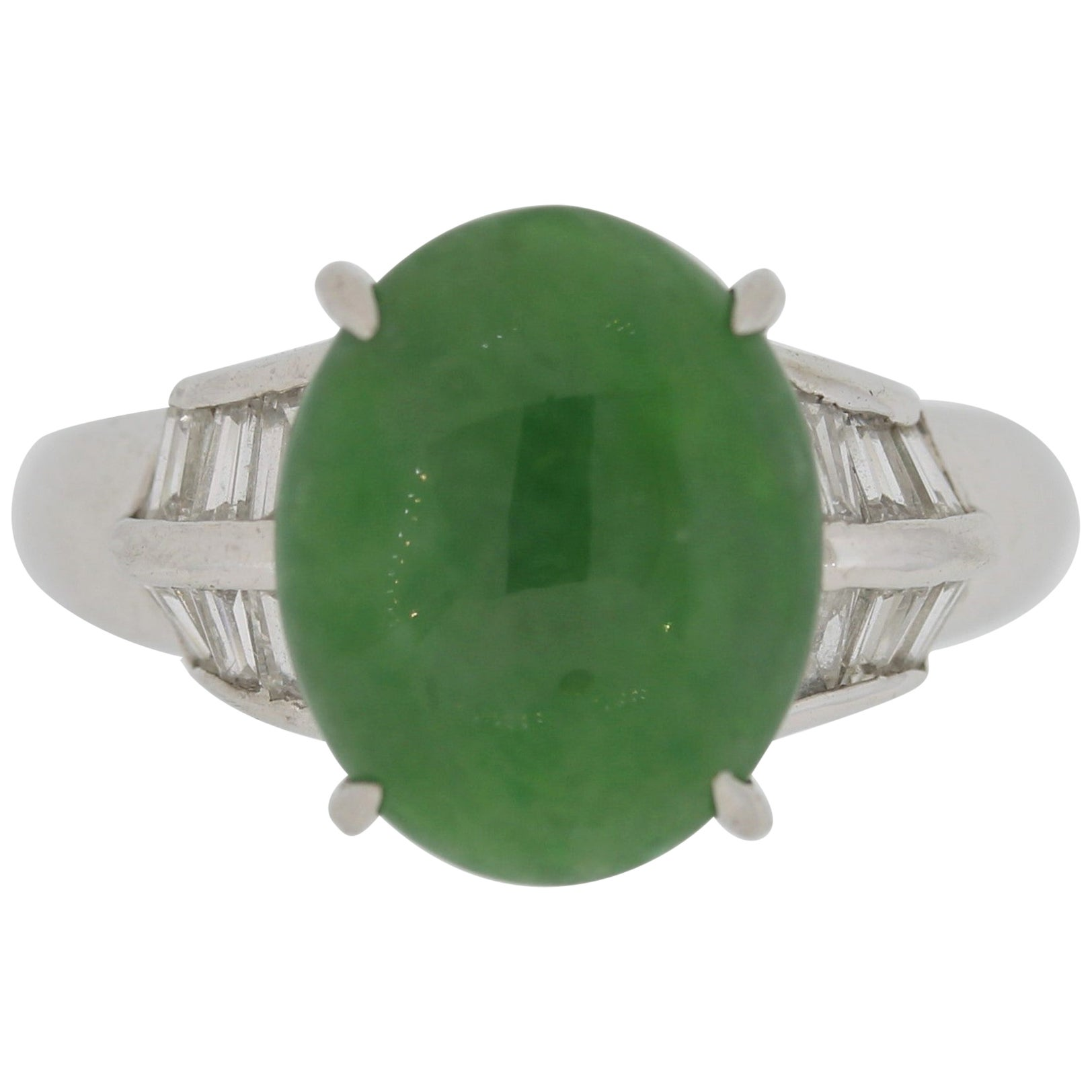 Jadeite Jade Diamond Platinum Ring