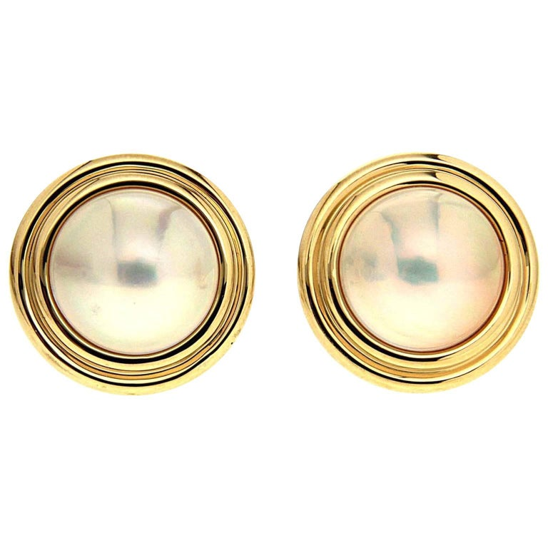 mabe pearl earrings with gold for sale at 1stdibs
