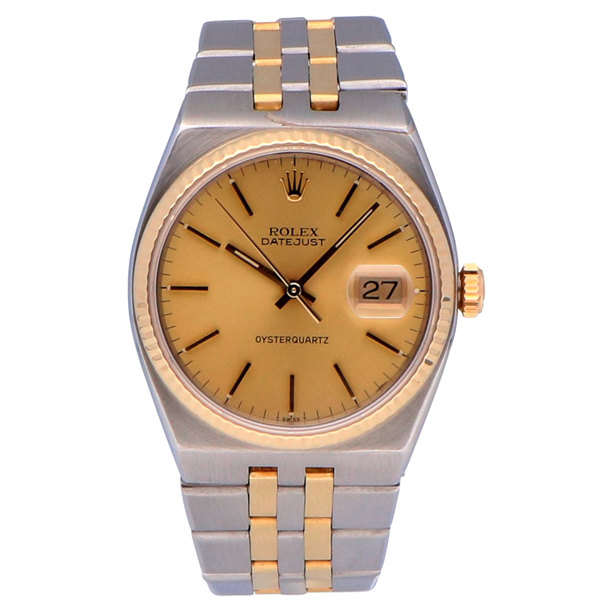 Pre-Owned Rolex Datejust Oysterquartz Stainless Steel and Yellow Gold 17013