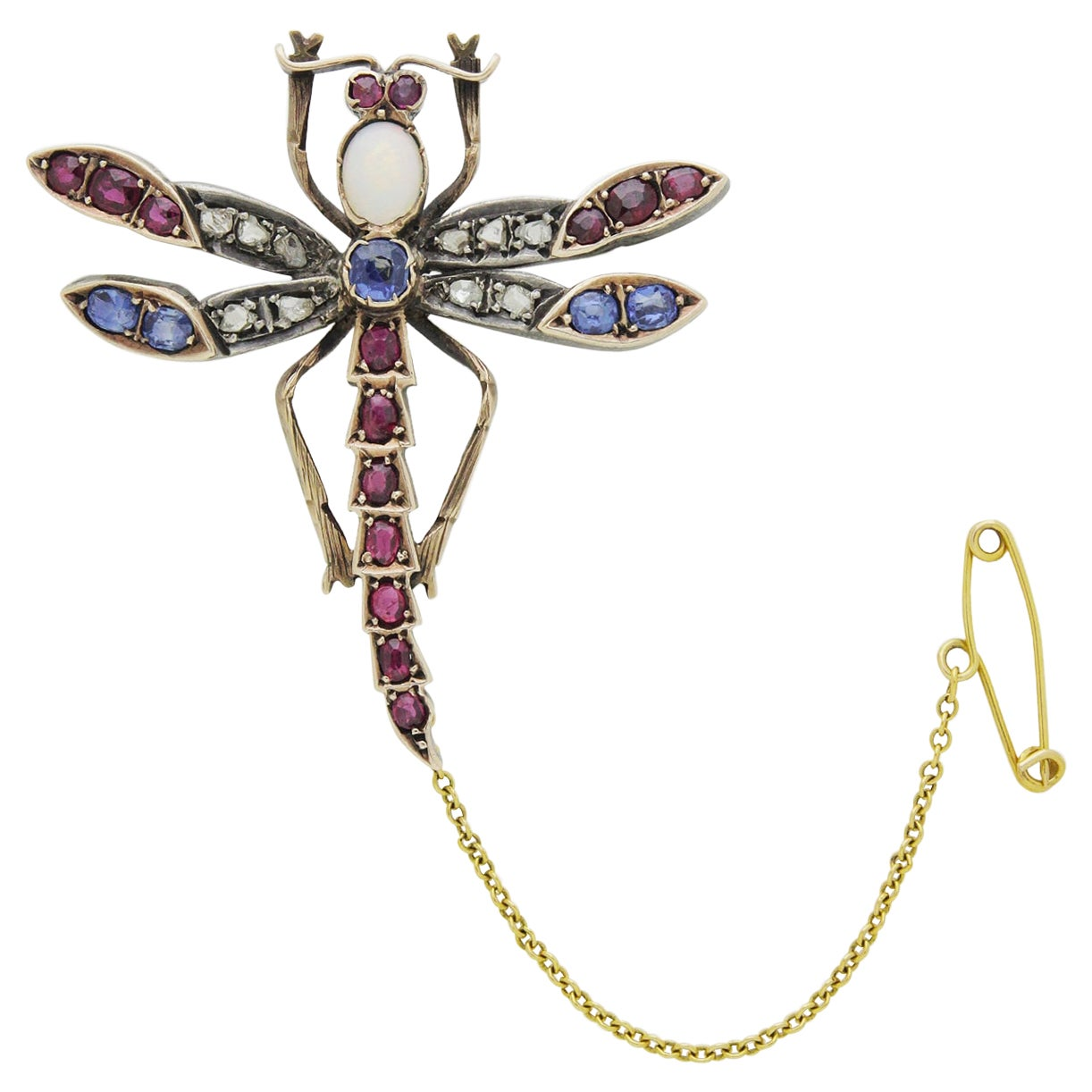 Opal, Ruby, Diamond, and Sapphire Dragonfly Brooch