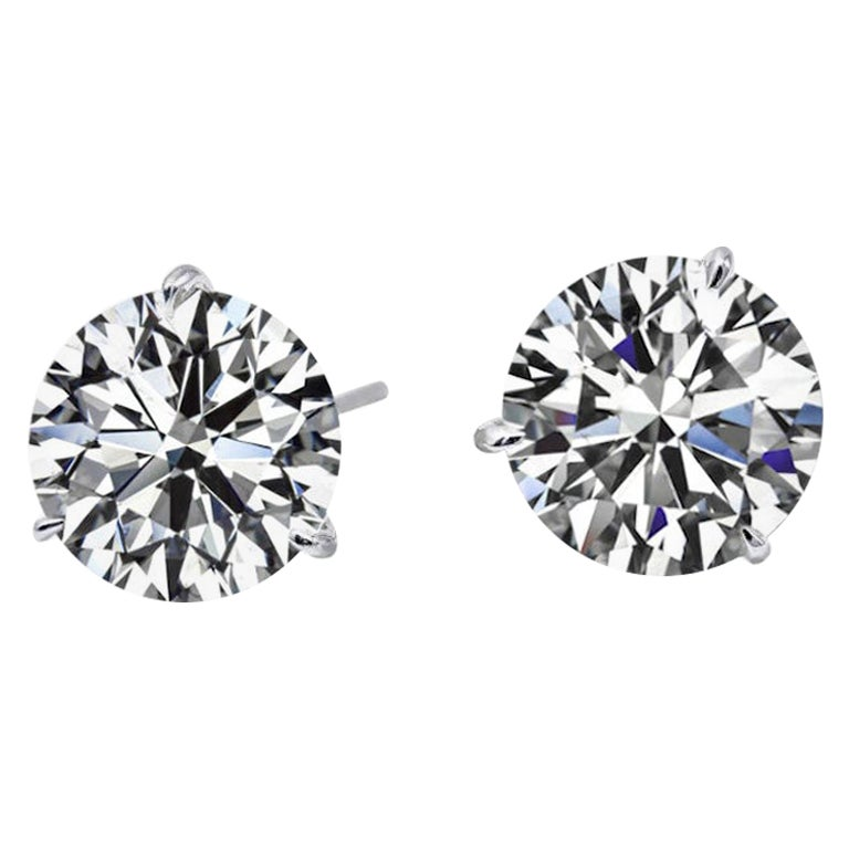 Internally Flawless/VVS G Color GIA Certified 6.10 Carat Studs  Excellent Cut