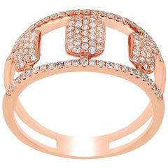 Pave Diamond Split Shank Ring in 14 Karat Rose Gold