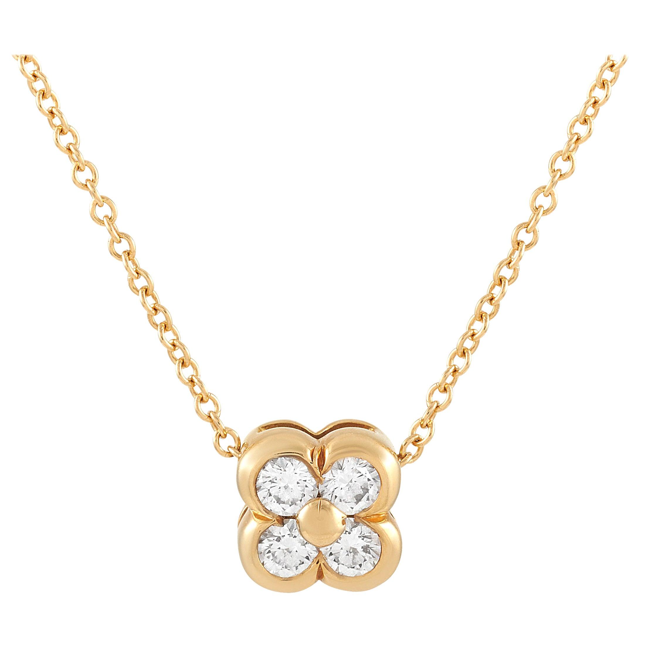 Tiffany & Co. 18 Karat Yellow Gold 0.20 Carat Diamond Clover Pendant Necklace
