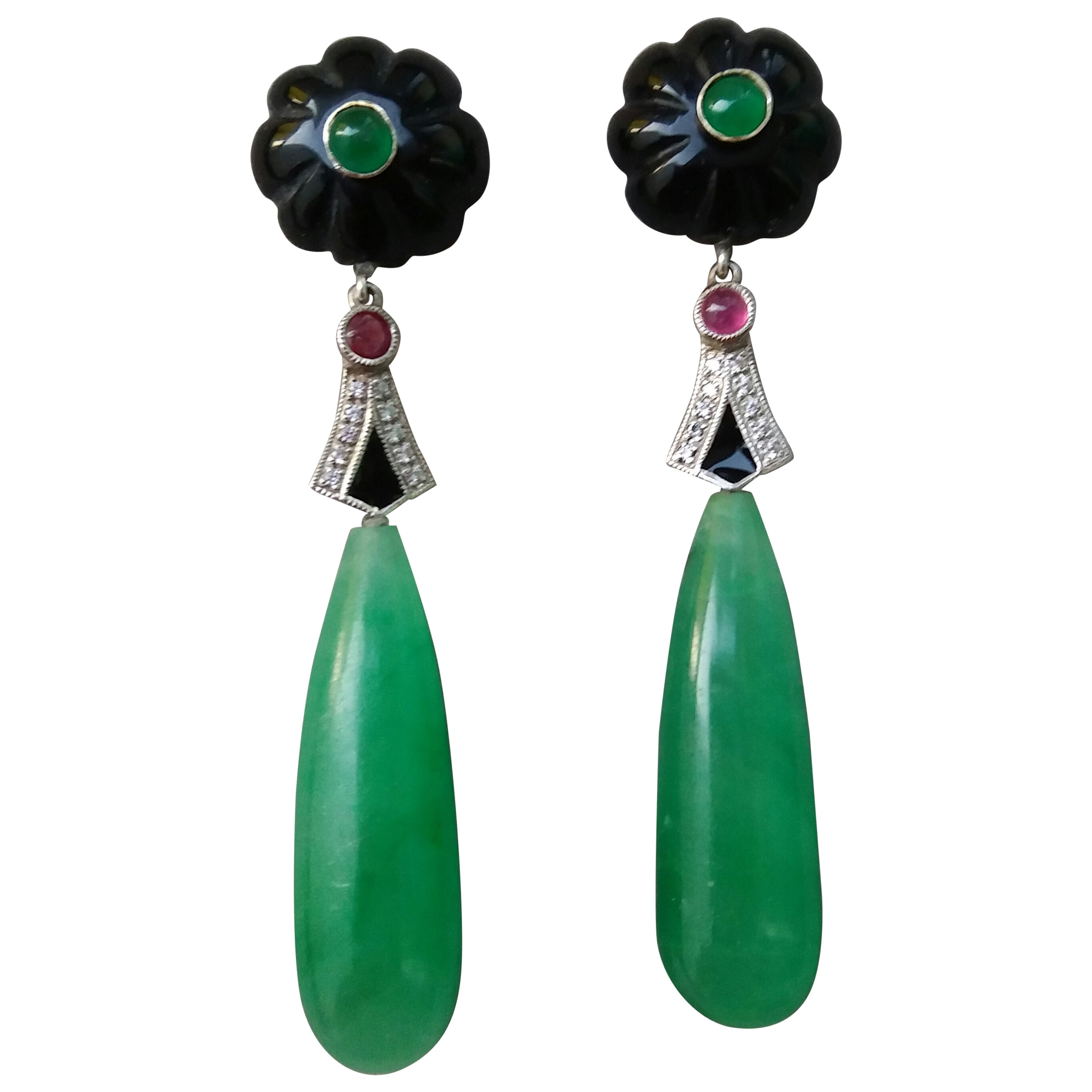 Art Deco Style Gold Rubies Emeralds Black Onyx Diamonds Enamel Jade Earrings