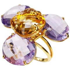 Multiphaceted Flower Ring with Central Citrine and Three Amethysts