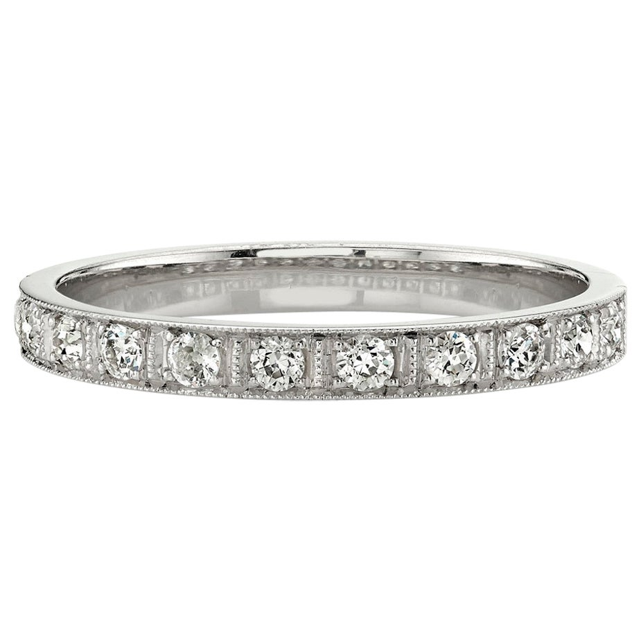 Handcrafted Prong Set Old European Cut Diamond Platinum Half-Eternity Band
