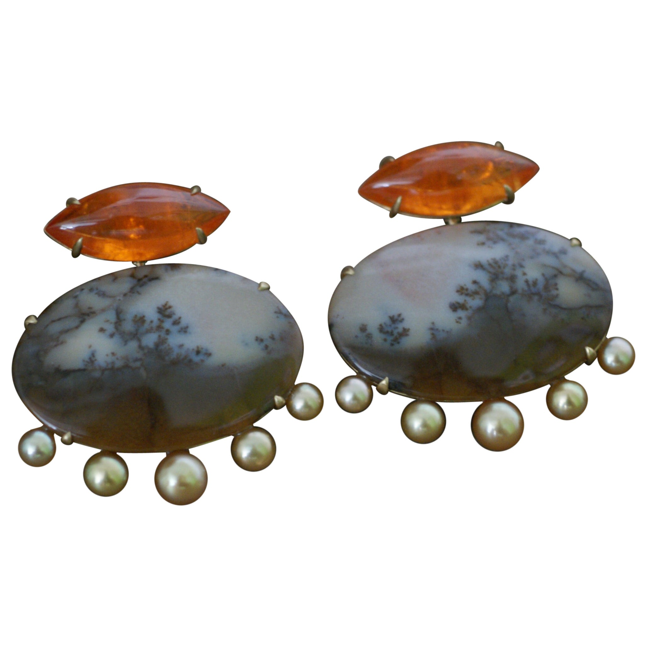 Mandarin Garnet, Dendritic Agate, Golden Pearl and 18 Karat Gold Earrings
