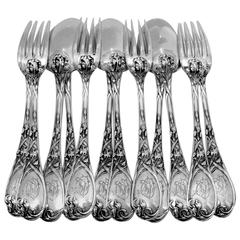 PUIFORCAT Fabulous French Sterling Silver Dinner Flatware Set 12 pc Iris