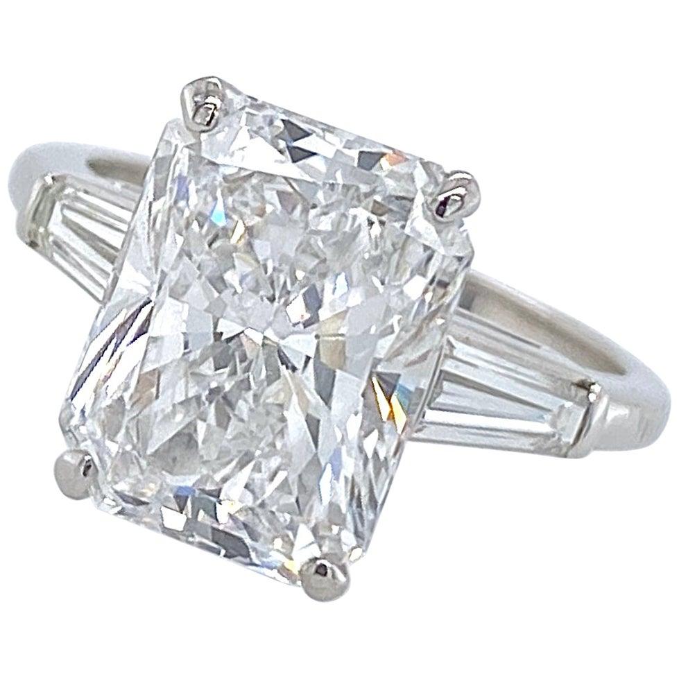 4.06 Carat VVS1 GIA Certified Radiant Cut Diamond in Deco-Era Platinum Ring