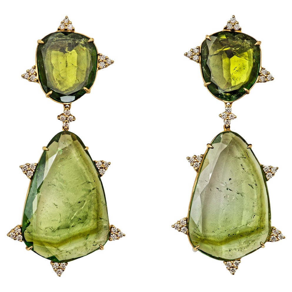 Mint Tourmaline, Diamond and 18 Karat Gold Earrings