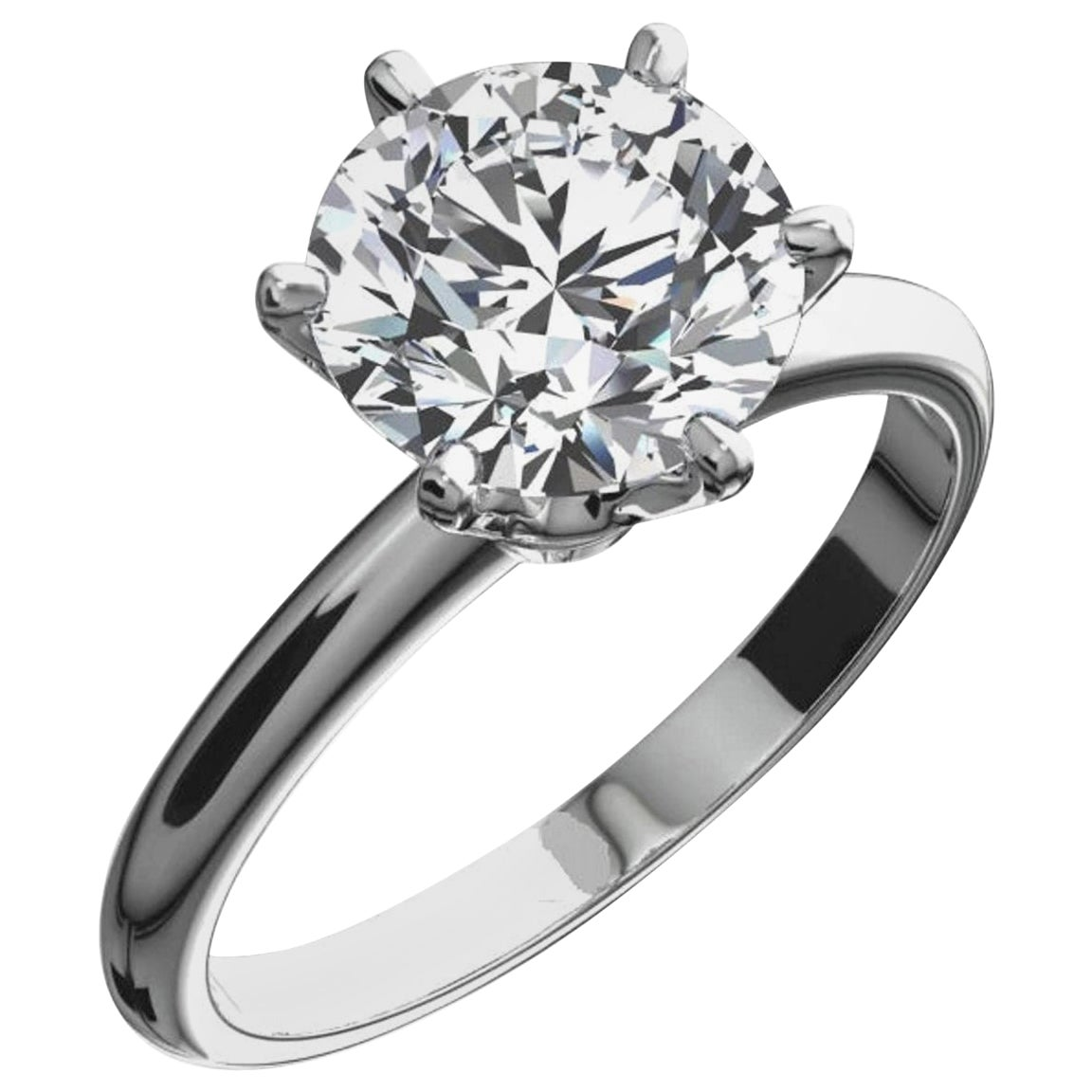 GIA Certified 3.60 Carat Round Brilliant Cut Diamond Platinum Ring VVS1 Clarity