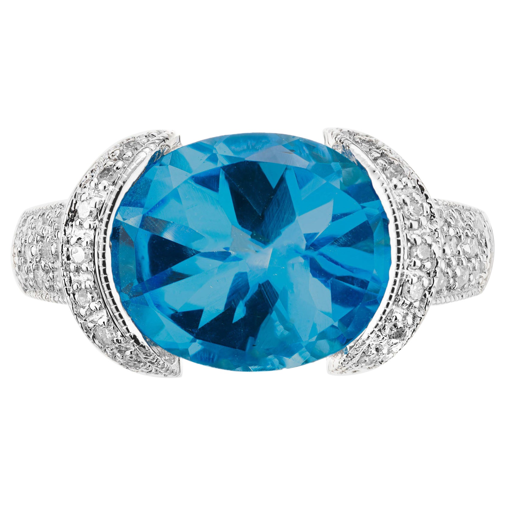 4.25 Carat London Blue Topaz White Gold Cocktail Ring