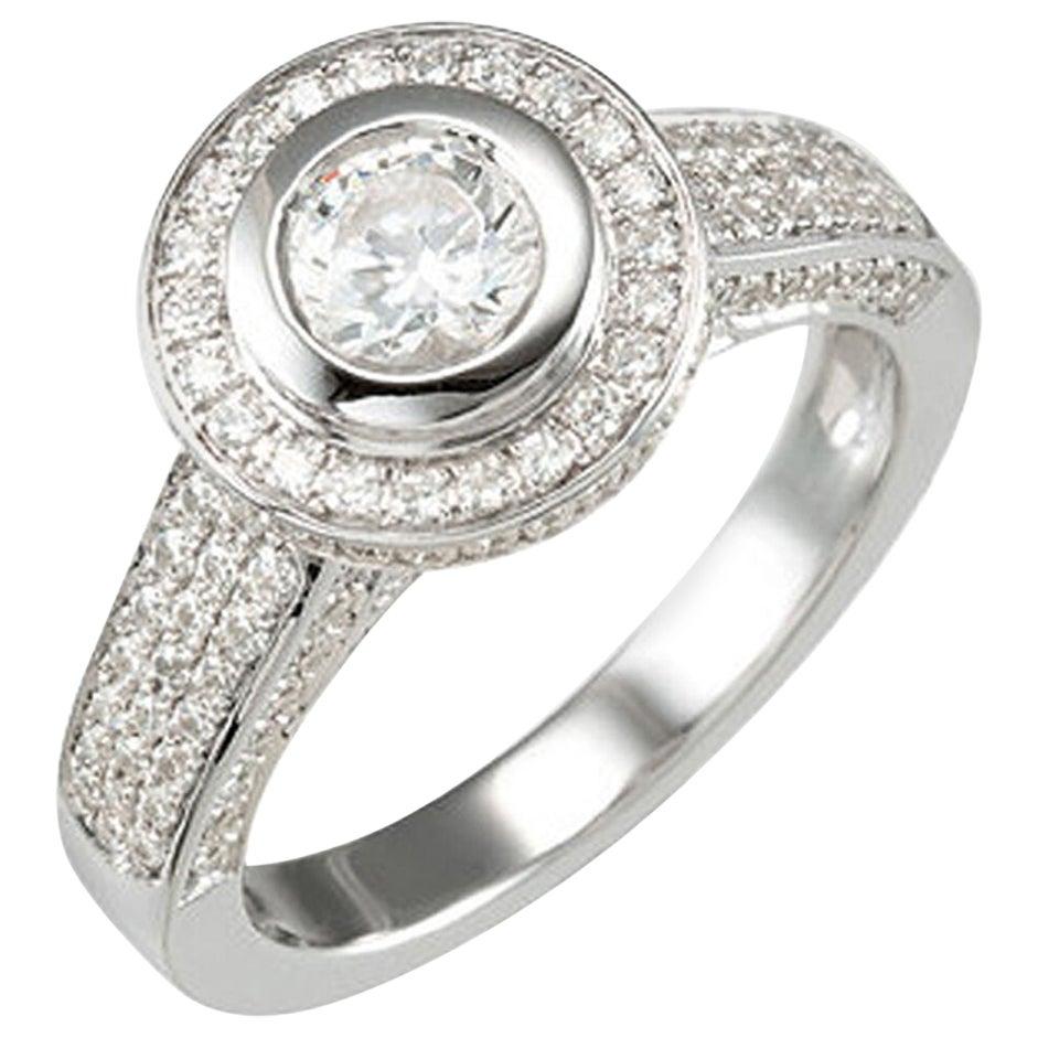 GIA Certified Diamond Ring 0.57 Carat Set in 14 Karat White Gold F VS2