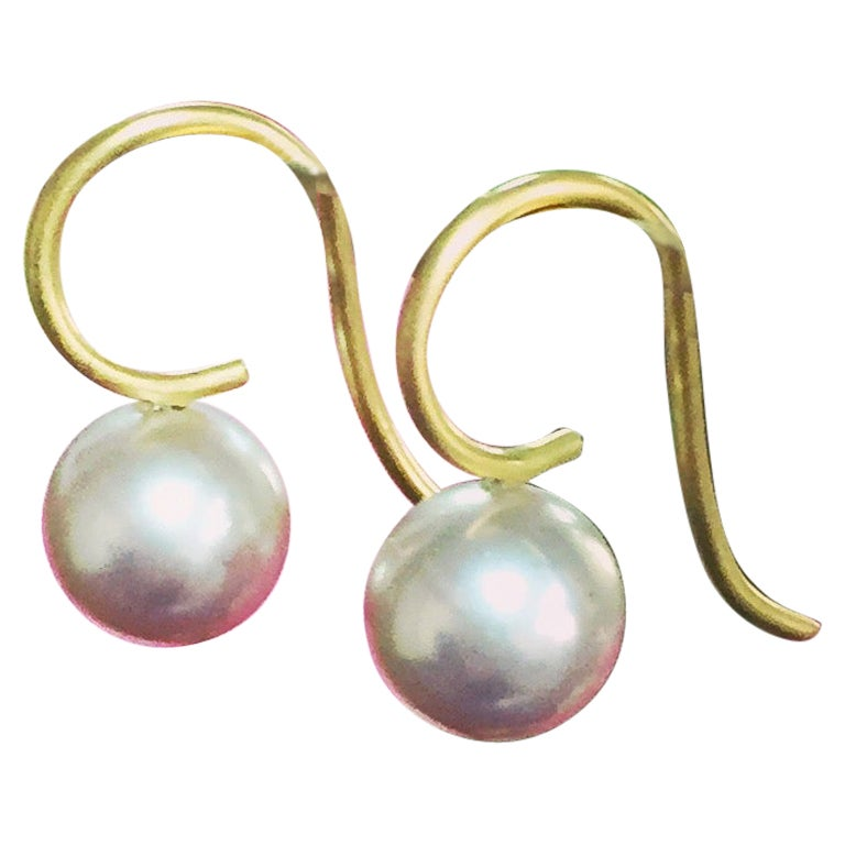 Pastel Pearl and 18 Karat Gold Earrings