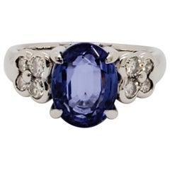Tanzanite Oval and White Diamond Cocktail Ring in Platinum