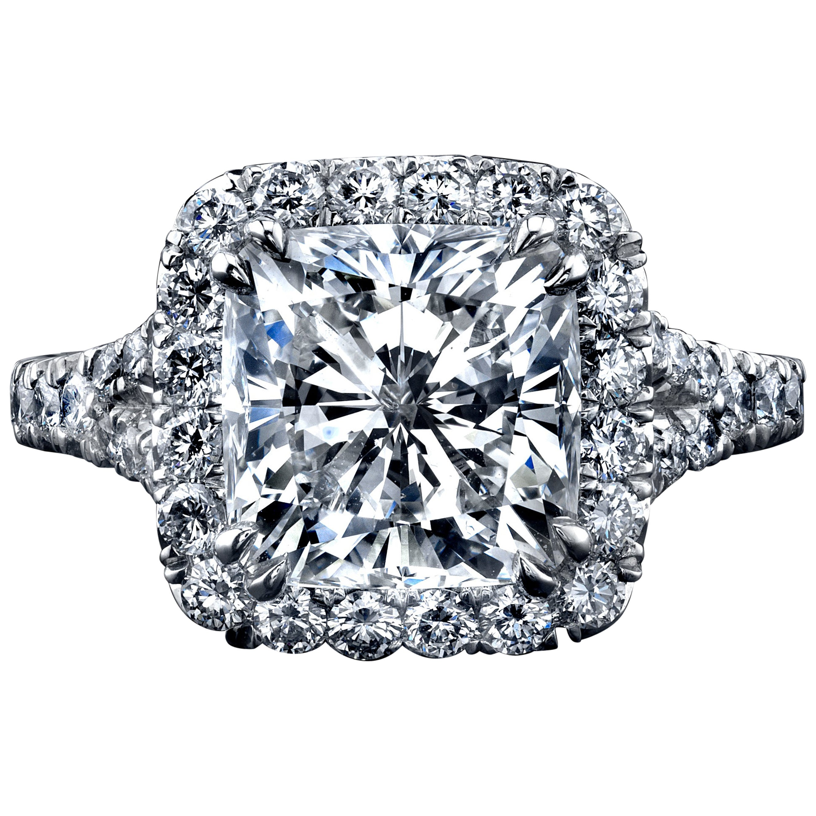 GIA Certified 4.05 Carat Cushion Cut Diamond Ring with Halo