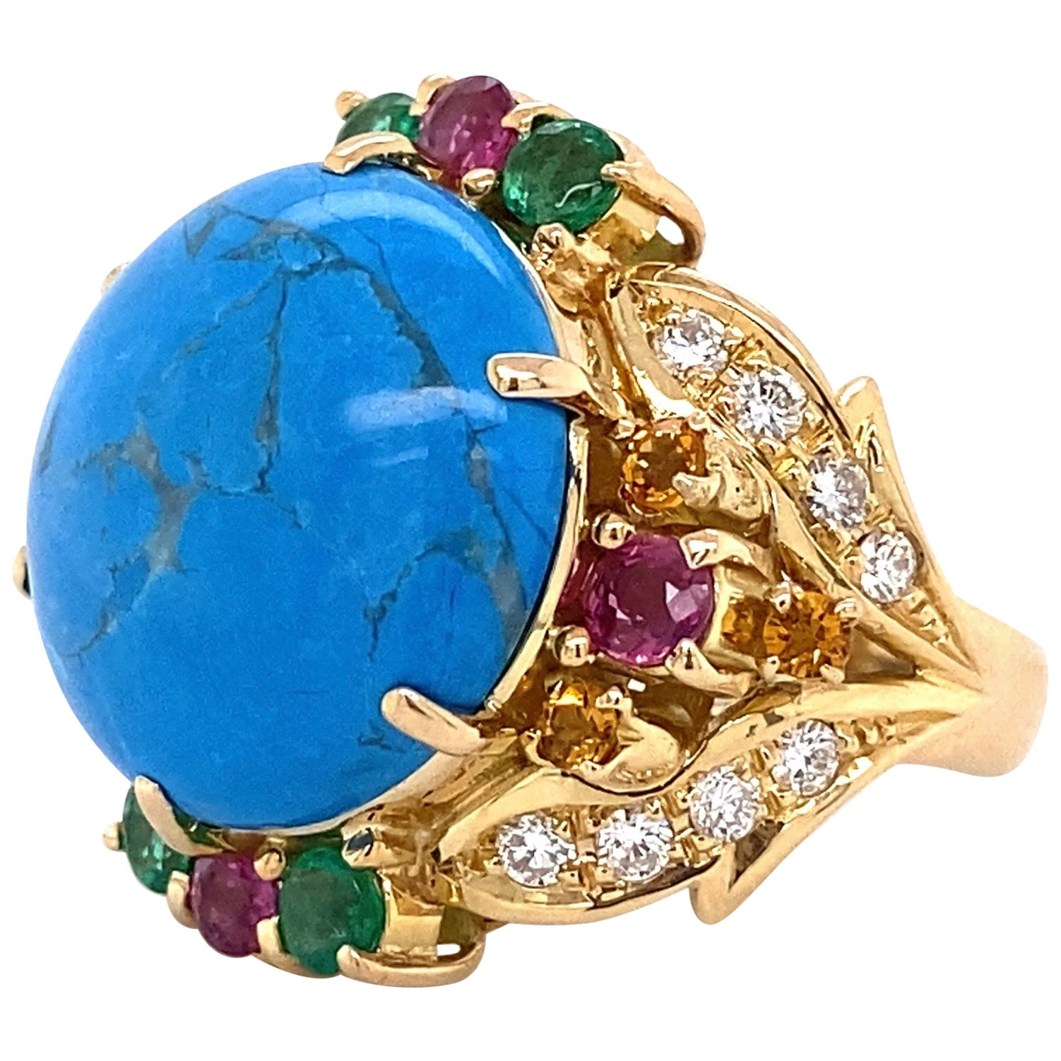 5.5 Carat Turquoise Diamond Emerald Ruby Gold Cocktail Ring Estate Fine Jewelry