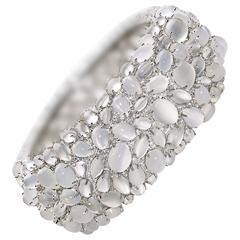 Moonstone diamond gold platinum cuff bangle