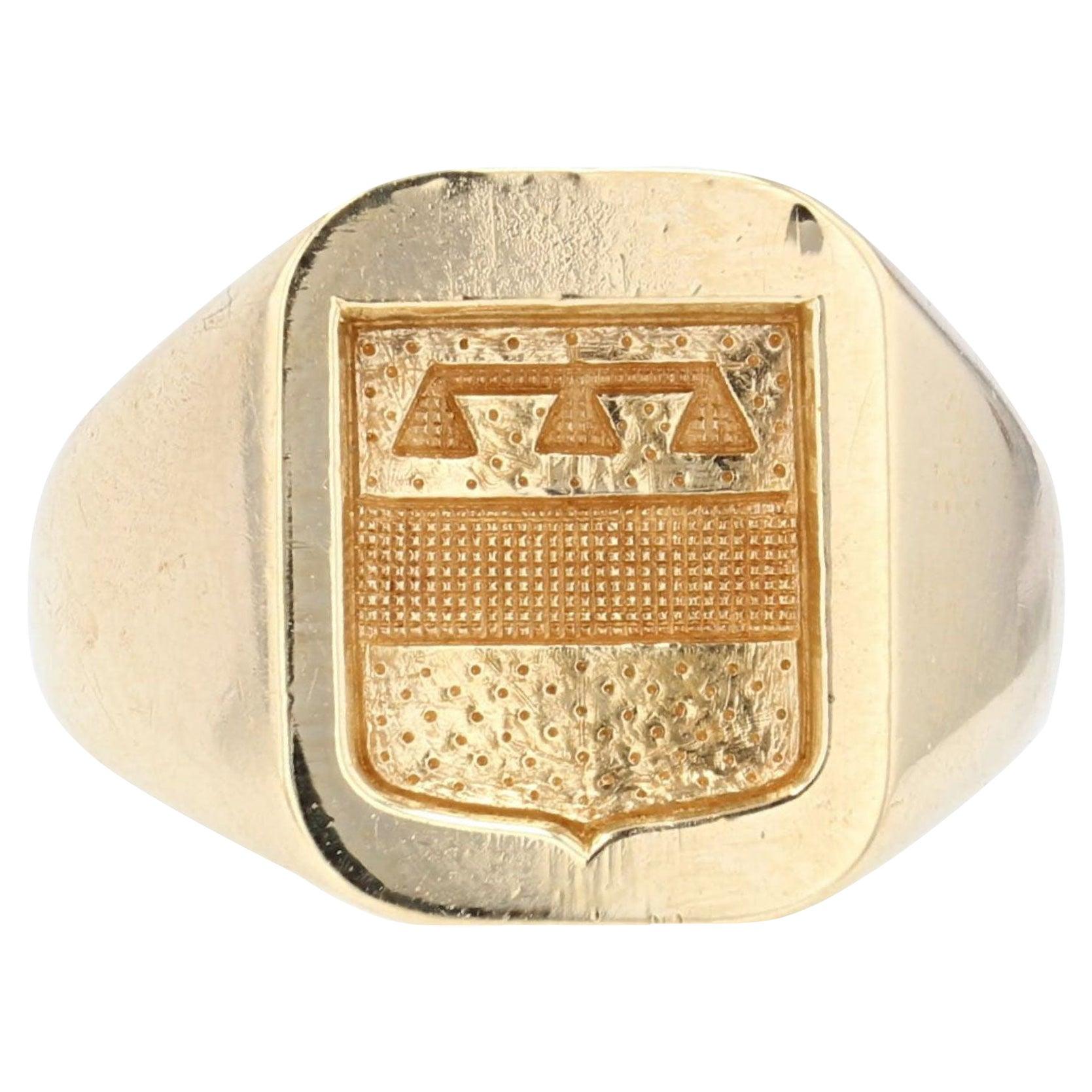 1950s 18 Karat Yellow Gold Armored Signet Ring