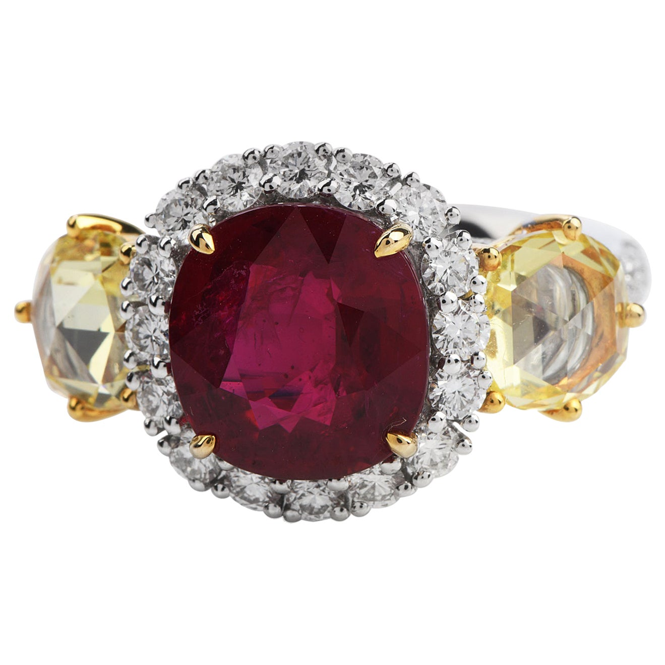 Certified Cushion Ruby Yellow Rose Diamond 18 Karat Three-Stone Ring