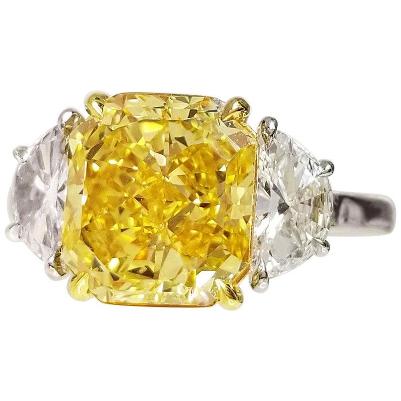 Scarselli 3 Plus Fancy Vivid Yellow Natural Diamond Engagement Platinum Ring GIA