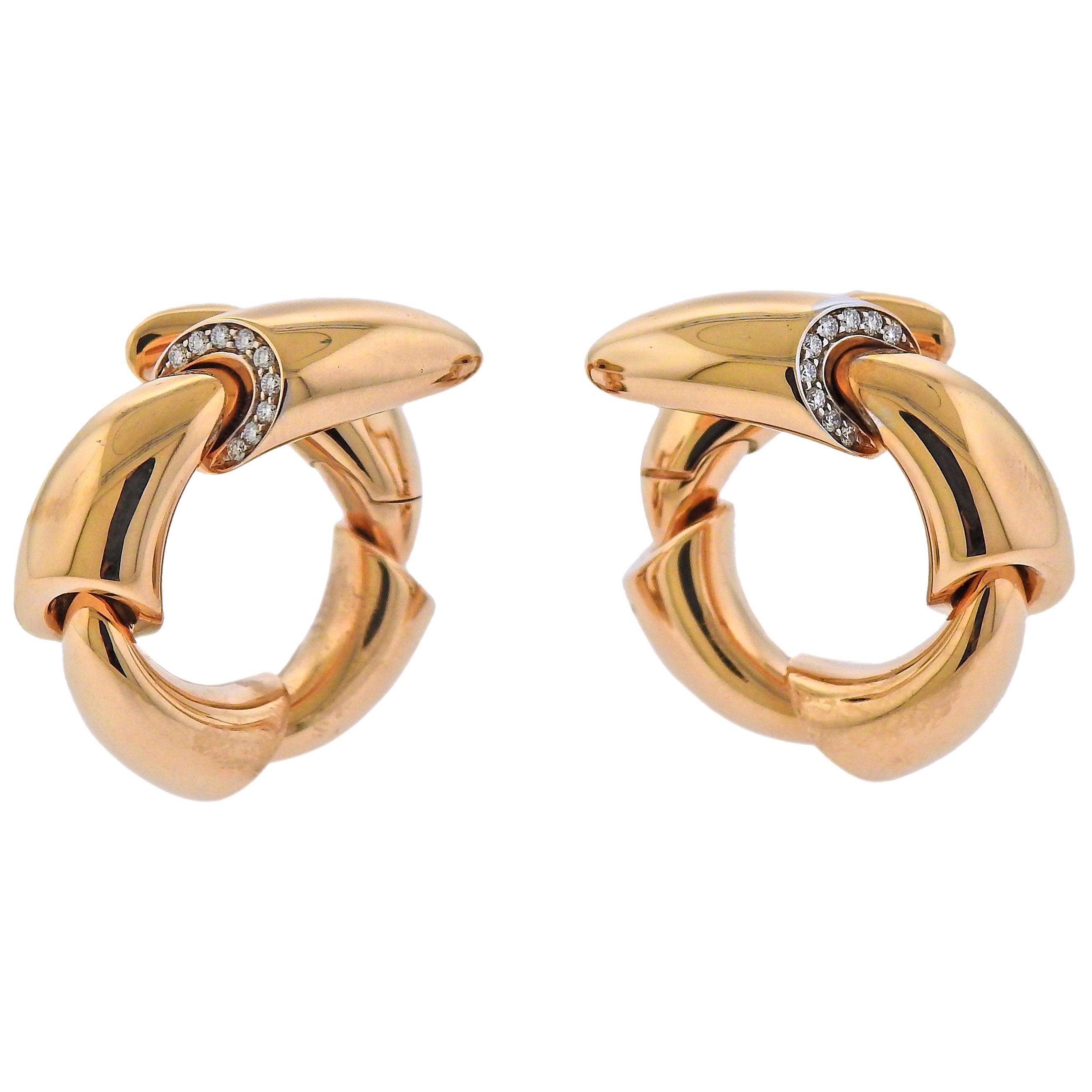 Vhernier Calla Rose Gold Diamond Earrings