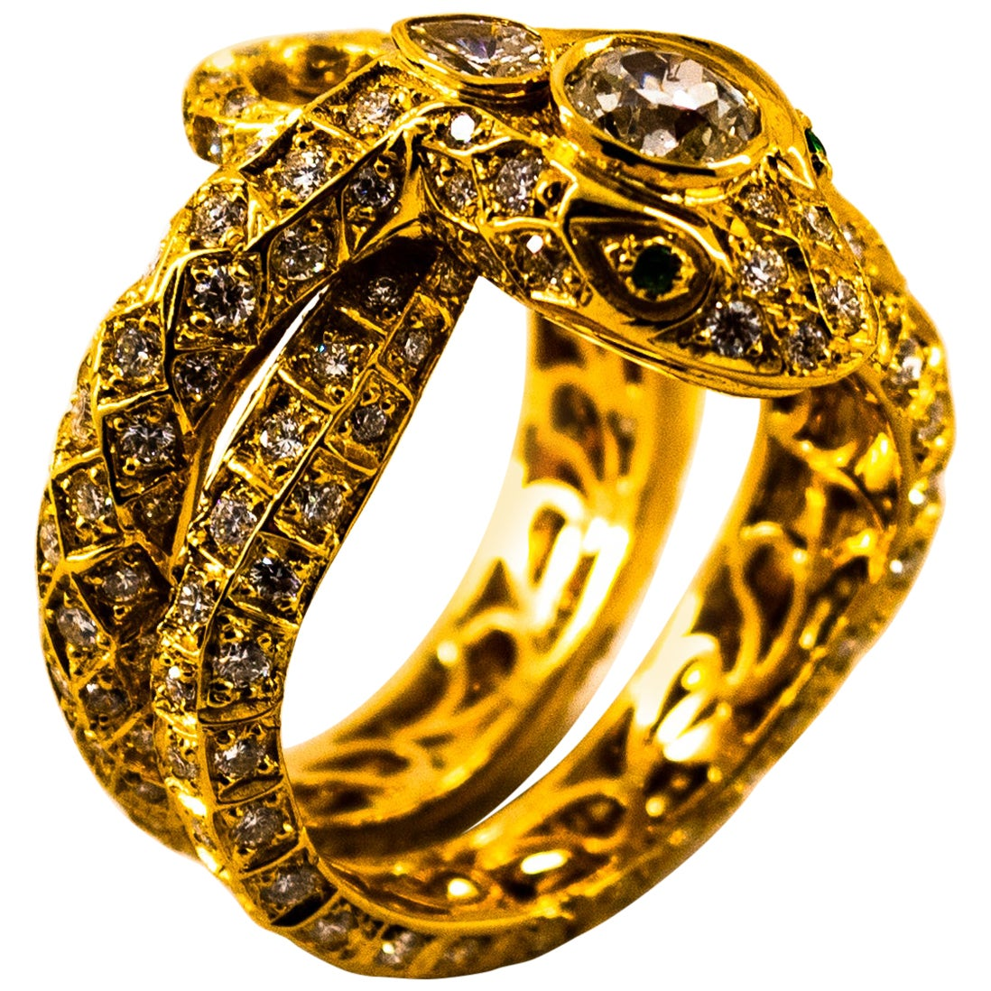 "Handcrafted 3.44 Carat White Diamond Emerald Yellow Gold Cocktail ""Snake"" Ring"