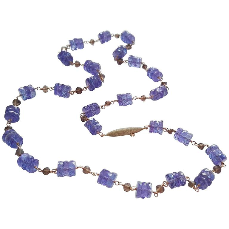 Dalben Tanzanite Smoky Quartz Gold Necklace For Sale