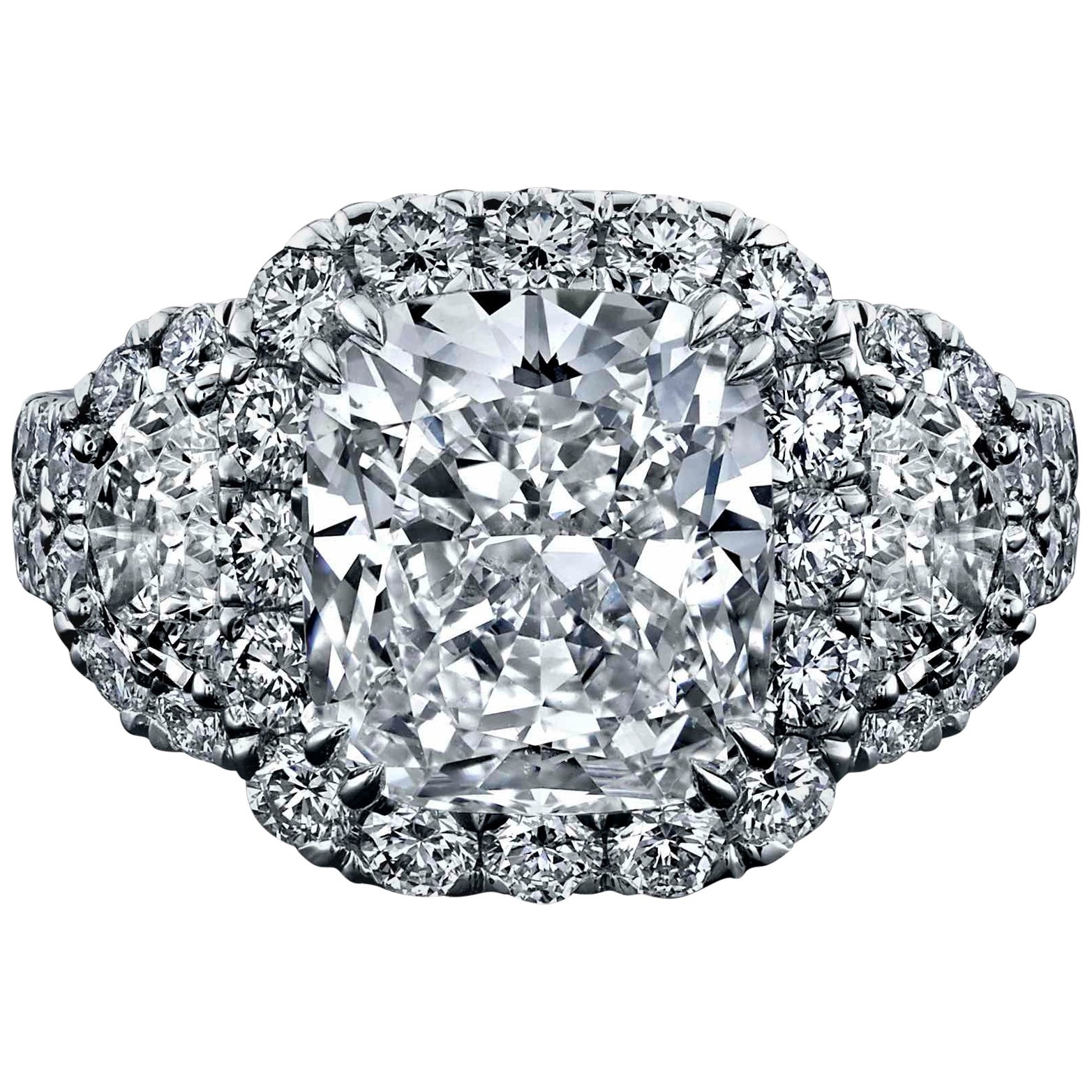 GIA Certified 4.03 Carat, Cushion Halo Diamond Ring