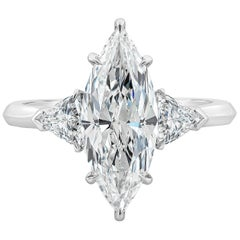 GIA Certified 2.72 Carat Marquise Diamond Three-Stone Engagement Ring