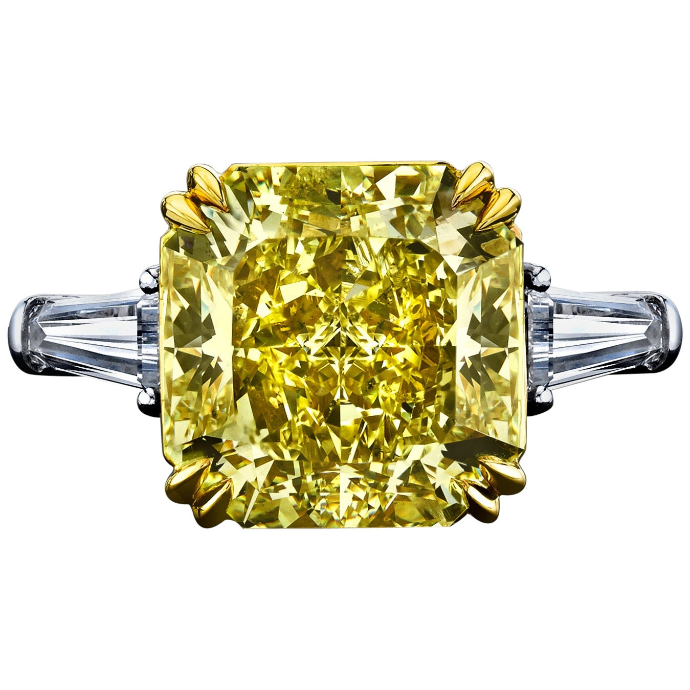 GIA Certified 5.07 Carat Radiant Fancy Yellow Diamond Ring