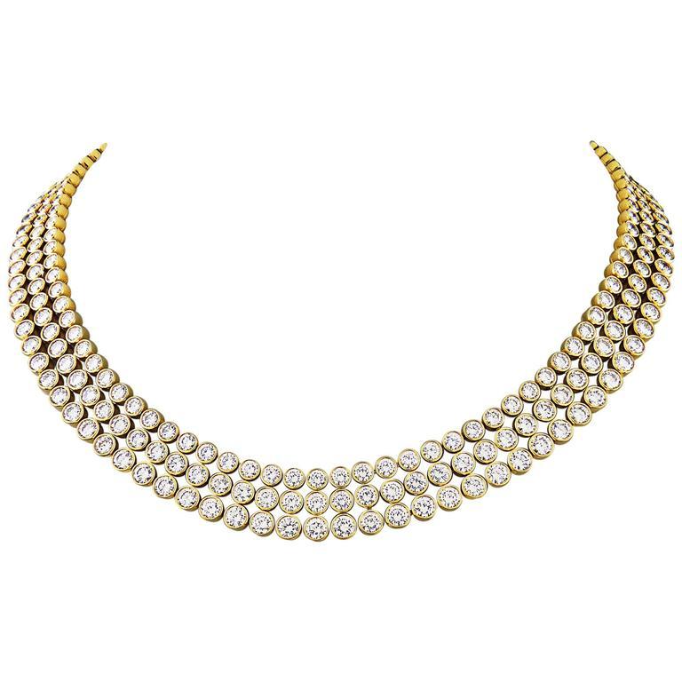 Harry Winston Important 3 Row Bezel Set Diamond Gold Necklace