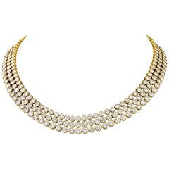 Harry Winston 3-Row Bezel Set Diamond Gold Necklace