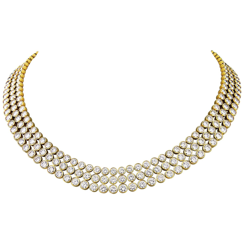 Bridal classics necklace sets mj 259 - Harry Winston Important 3 Row Bezel Set Diamond Gold Necklace