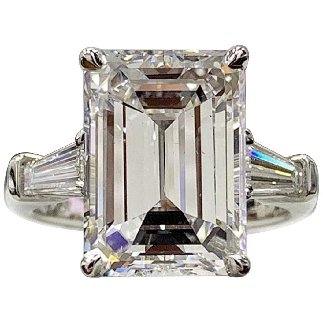 GIA Certified 4.65 Emerald Cut Diamond Ring E Color VS2 Clarity