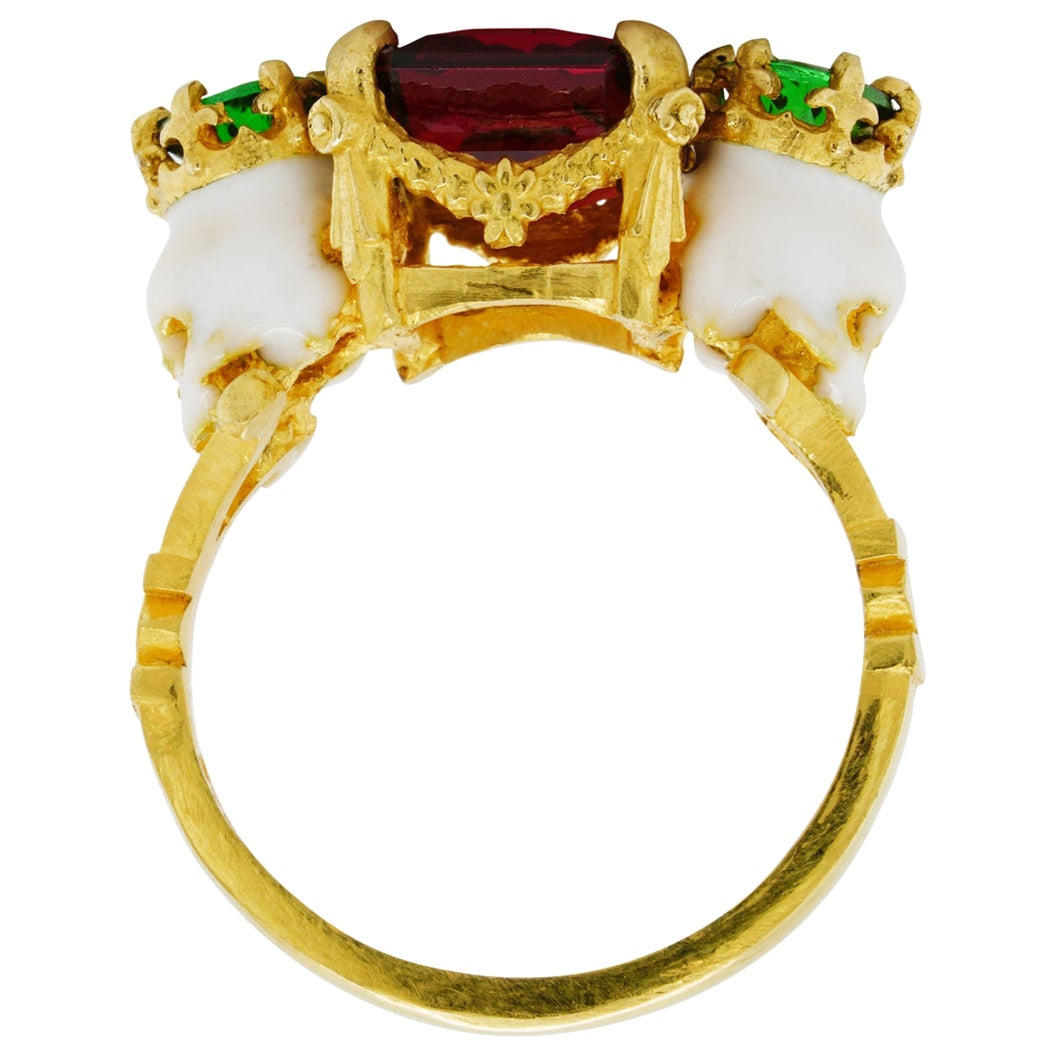Catacomb Saints Garland Ring in 22 Karat Gold with Red and Tsavorite Garnets